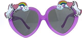Children Size Girls Rainbow Unicorn Heart Shape Sunglasses