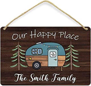 WDSLSING Personalized Camper Signs Our Happy Place Customized Camping, Family Name Indoor Fun Entrance Camp Welcome Decora...