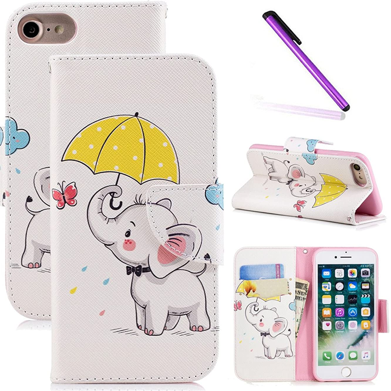 LEECOCO iPhone 8 Plus Case 5.5 inch Fancy Printing Floral Wallet Case Card Cash Holder Slots PU Leather Folio Flip Kickstand Protective Slim Case Cover iPhone 7 Plus Umbrella Dumbo BF