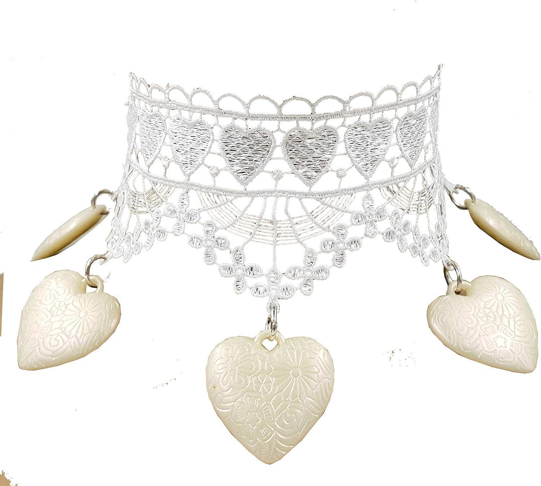 Gothic Lace Fringe Spike Choker Collar Necklace