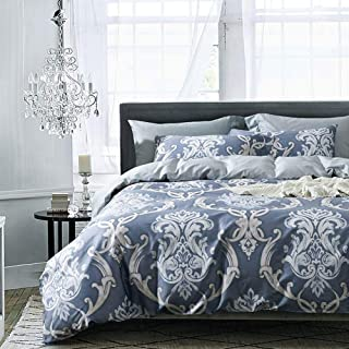 Anjos Phoenix Tail Flowers Grey European Duvet Cover Set Bedding - Egyptian Cotton - Duvet Cover,Flat Sheet,Pillow Cases (Queen86x94inch)