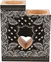Romantic Wooden Heart Shaped Couple Candle Holders, Bandana Black White Candle Holder Heart Pedestal for Valentines Day We...