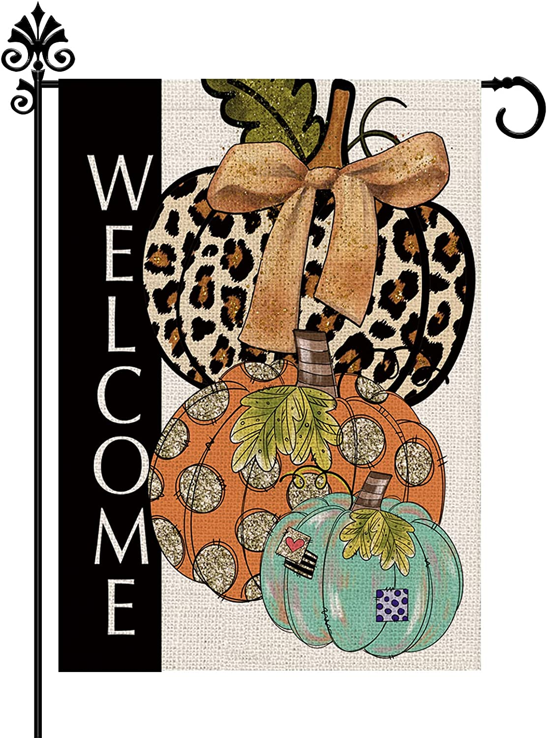 Fall Garden Flag Pumpkin Patch Leopard Garden Flag Burlap Vertical Double Sided 12.5 x 18 Inch Outdoor Decorations Holiday Flags Yard