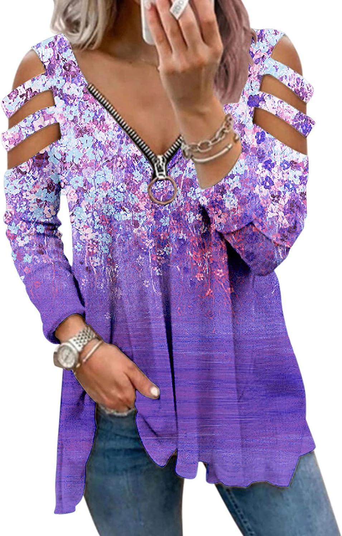 Women Long Sleeve Shirts,Women Sweatshirts with Zipper Teen Girls Long Sleeves Aesthetic Graphic Vintage Pullover