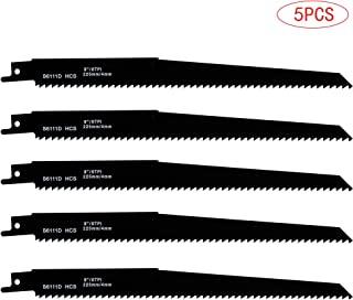 TAROSE 5-Piece S6111D 9-Inch 6 TPI HCS Reciprocating Saw Sawzall Blades Set For Wood Plunge Cuts