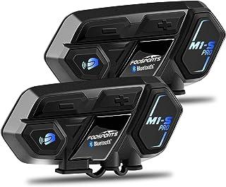 1 Pack Impermeabilidad 2000M Auriculares Manos Libres para Casco Moto Intercomunicacion Entre 8 Motociclistas FODSPORTS M1-S Pro Auriculares Intercomunicador Moto Bluetooth para Motocicletas