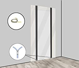 Stofwerende deurfolie set van 2 met ritssluiting bouwdeur [PE-folie] 1,20 x 2,20 m incl. dubbelzijdig plakband - bouwfolie...