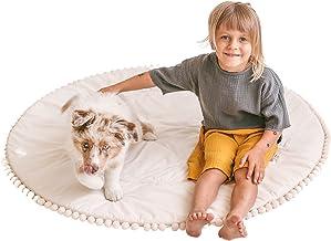 MINICAMP Vadderad lekmatta för barn – rund matta för tipi-tält – aktivitetsmatta för baby – lekmatta för magen
