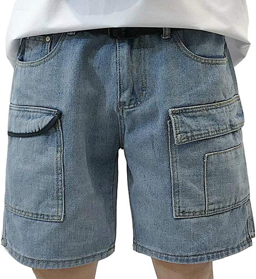 ZPAYFSDS Men's Slim Fit Denim Cargo Shorts Multi Pockets Loose Straight Hiking Shorts