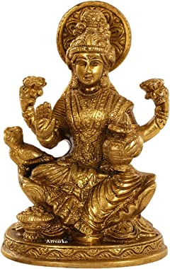 Artvarko laxmi MATA Blessing Sitting on Lotus with Kalash and Owl Brass murti for Home Temple 5 Inches.