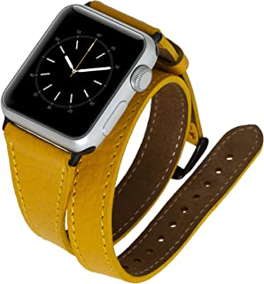 Venito Serena Slim Double Wrap Leather Watch Band Compatible with The Newest Apple Watch iwatch Series 5 as Well as Series 1,2,3, 4 (Yellow w/Black Stainless Steel Hardware, 38mm-40mm)
