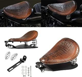 Lalaparts Bronze Motorcycle PU Leather Style Solo Seat Bracket Base with Chrome Spring Compatible for Harley Honda Yamaha Kawasaki Suzuki Sportster Bobber Chopper Custom