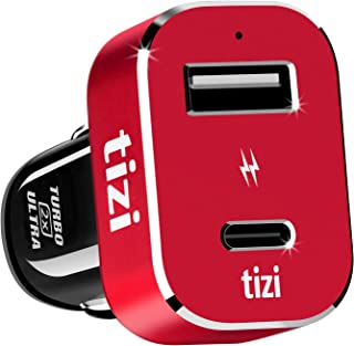 equinux Tizi Turbolader 2X Ultra 42W, High Powered Car Charger with USB-C + USB-A Ports. 30W PD. Charger with Power Delivery, Fast-Charge. Compatible with iPhone, iPad Pro, MacBook Pro.