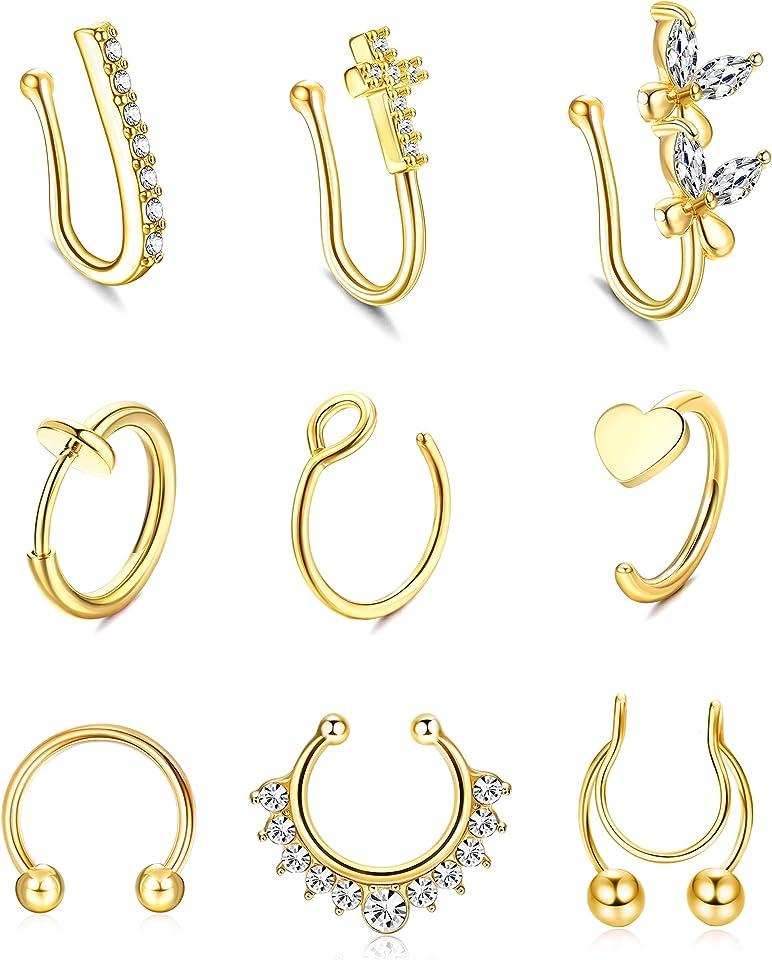 FIBO STEEL 16/20G Fake Nose Rings Stainless Steel CZ Inlaid Clip on Faux Lip Ear Septum Rings Hoop Non Piercing Set for Women Men 9pcs