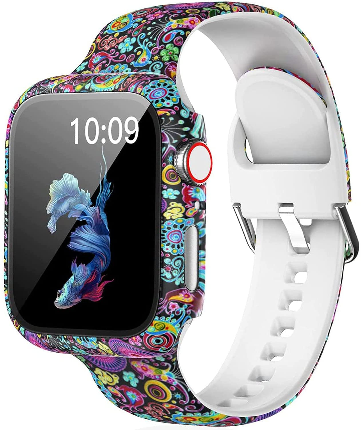 LKEITY Floral Printed Sport Silicone Band Compatible for Apple Watch Bands 38mm 40mm 44mm 42mm, Soft Fadeless Pattern Strap with Screen Protector Cover Case for iWatch Series SE 6 5 4 3 2 1 Women Men