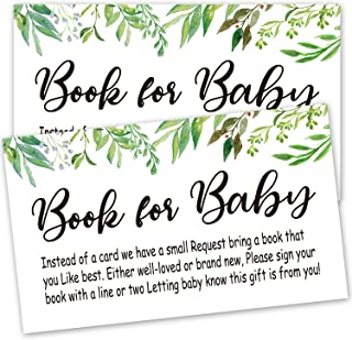 Books for Baby Shower Request Cards, 50 Greenery Baby Shower Invitation Inserts, Baby Shower Book Request Cards, Baby Shower Games, Baby Party Supplies