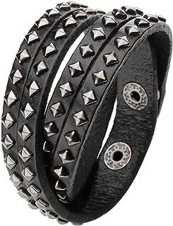 Jovivi Men Women Punk Rock Genuine Leather Multi Layers Spike Studded Rivets Strap Wrap Biker Leather Cuff Bracelet Bangle...