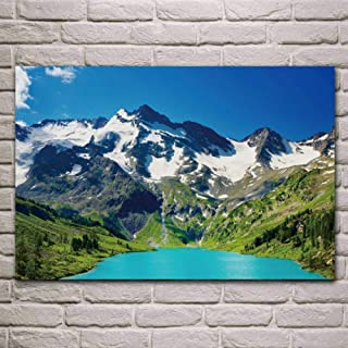 Lcgbw Great turquoise mountain lake nature wallpaper living room decor home wall art decor posters-Lona-40x80cm