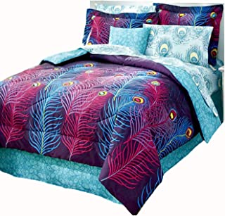 PEACOCK FEATHER Completely REVERSIBLE Comforter~Shams~Bedskirt & Sheet Set (8pc Queen Size Bed In A Bag)