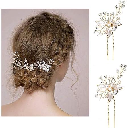 Vintage Damen Kristall Haarnadel Haarspange Clips Blüte Haarschmuck Haarklammer