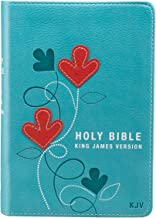KJV Holy Bible, Compact Bible - Aqua and Red Faux Leather Bible w/Ribbon Marker, Red Letter Edition, King James Version