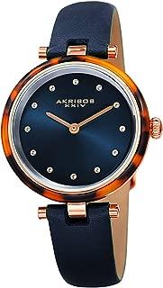 Akribos Swarovski Crystal Markers Watch, Tortoise Shell Bezel, Sunray Dial, Quartz Movement, Comfortable Designer Women's Leather Watch - AK1052