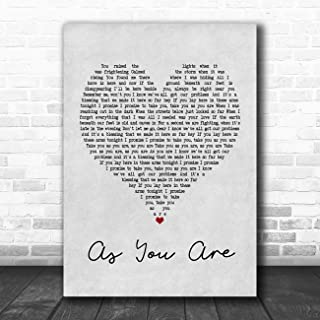 As You are (Shy FX Remix) Grey Heart Quote Song Lyric Music Poster Gift Present Art Print