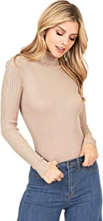 Ambiance Apparel Women's Ribbed Long Sleeve Turtleneck Top