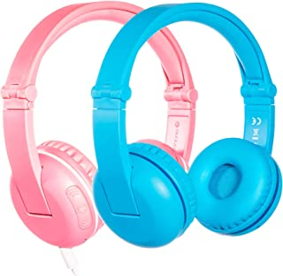 Wireless Bluetooth Headphones for Kids - BuddyPhones Play | Kids Safe Volume Limited to 75, 85 or 94 dB | Foldable with 14-Hour Battery Life | Optional Cable for Audio Sharing | Pink and Blue