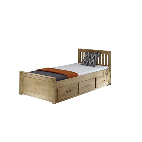 167a7c79a1f 3ft Single Captain Cabin Storage Solid Pine Wooden Bed Bedframe - Waxed  Pine Finish (Made