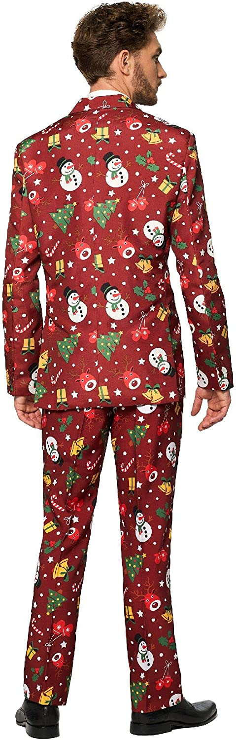 Light-Up Red Christmas Suit for Men Includes Tie