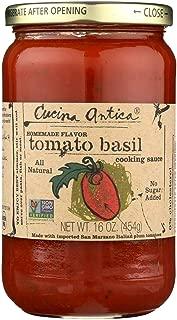 Cucina Antica Tomato Basil Cooking Sauce - Case of 12 - 16 FL oz.
