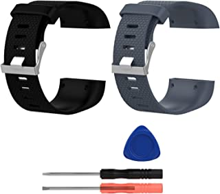 E ECSEM Replacement Bands Compatible with Fitbit Surge, Large, Silicone Wristbands/Straps for Surge Fitness Superwatch, 2pcs