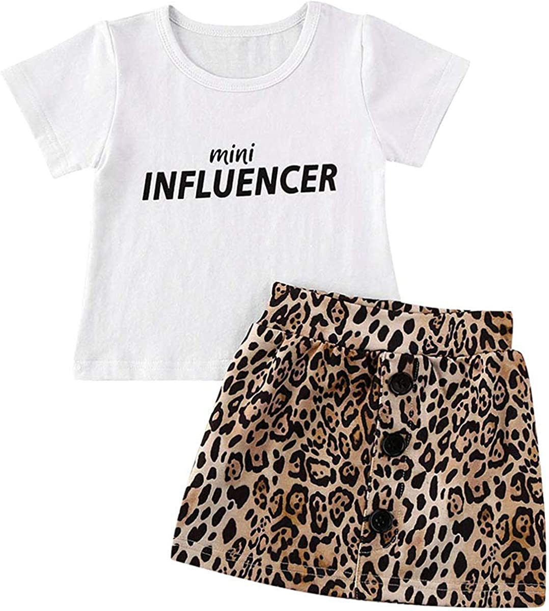 Toddler Baby Girl Summer Outfits Short Sleeve T Shirt Top Leopard Mini Shorts Skirts Casual Clothes Set