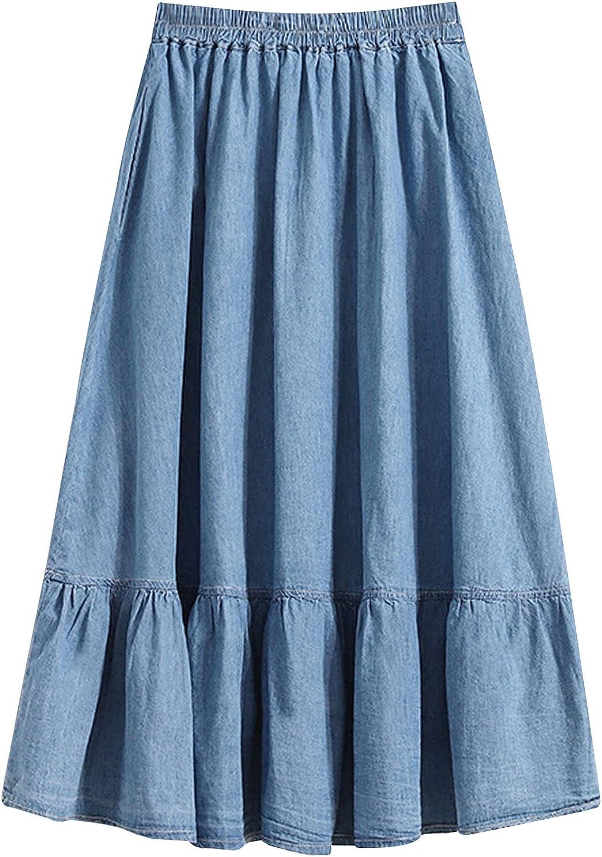 Ainangua Women's A-Line Long Midi Denim Skirt Elastic Waist Flared Pleated Flowy Jean Skirts