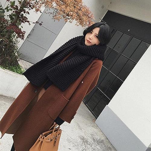 DEED Manteau Femme-Manteau en Laine à la Mode dans Le Long Paragraphe Lache Lache Genou Veste VêteHommests d'hiver