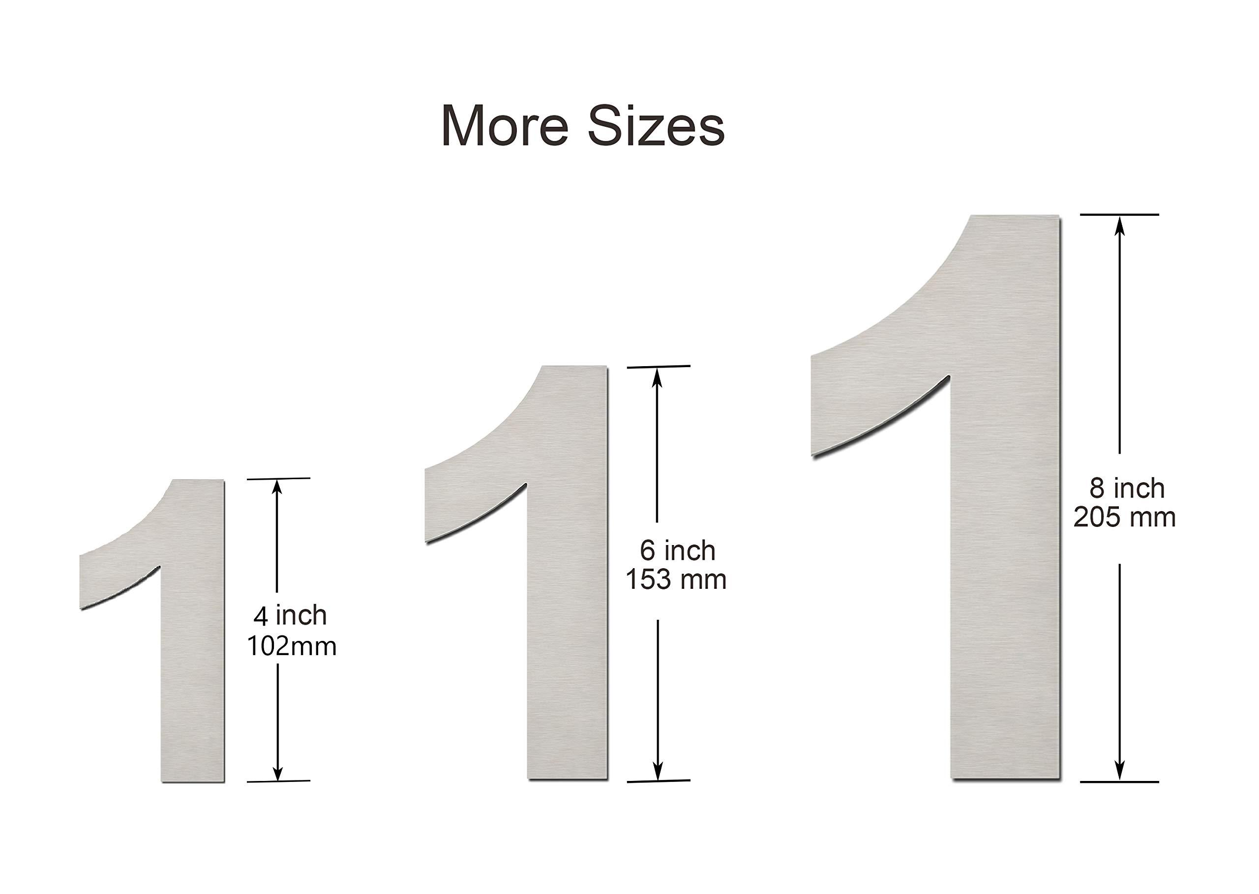 N/úmero 0 Cero hecha de acero inoxidable 304 s/ólido aspecto flotante y f/ácil de instalar N/úmero de casa moderna cepillada: 102 mm de altura