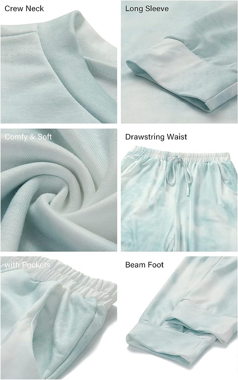 PRETTYGARDEN Women's Tie Dye Two Piece Pajamas Set Long Sleeve Sweatshirt with Long Pants Sleepwear
