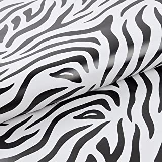 yazi Peel and Stick Vinyl Paper Wallpaper Moisture Proof for Furniture Cover Shelf Liner Wardrobe Cupboard Zebra Patterned, 18-Inches by 33-Feet