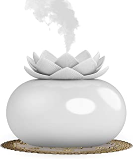 Vyaime Decor Essential Oil Diffuser Cute Lotus, Mini Ceramic Home Humidifier Aromatherapy Difuser 200mL 12Hours, Air Purifier Freshener for Office Bedroom Yoga Spa Baby (White)