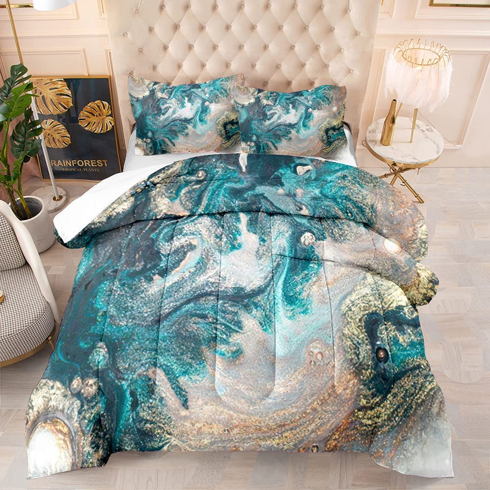 BailiPromise Japanese Style Comforter Set Re Texture Blue Max 44% Ranking TOP19 OFF Marble