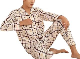 Keaac メンズスリーピングロングスリーブトップ&ボトムパジャマセットカジュアルパジャマセット