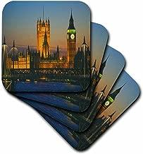 3dRose CST_66293_1 Big Ben, London, England Dusk-Soft Coasters, Set of 4