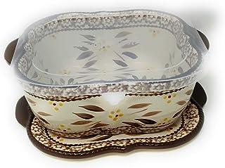 Temp-tations Baker/Casserole Dish 2.0 Qt w/Lid-It (Trivet), Plastic Cover (Old World Brown)