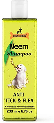 Dogz & Dudez Dogs and Cats Shampoo Anti Tick & Flea | Organic Natural Neem & Lemongrass ● Anti Itching, Insect Repell...