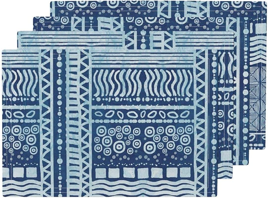 Blue Mudcloth Inspired Heat Resistant Placemat Mudcloth Batik Batik Mudcloth Geometric Abstract Modern Home Decor Summer Striped Tribal By Kadyson Washable Placemats For Dining Table Set Of 6