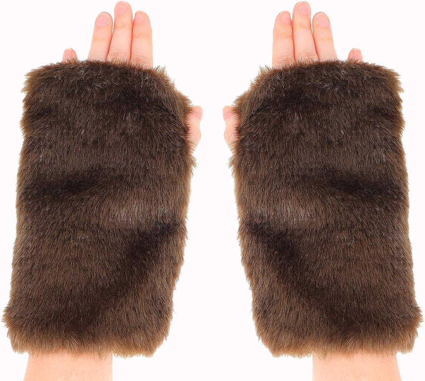 Women Winter Furry Mittens Faux Fur Warm Soft Fingerless Half Finger Arm Warmer Gloves