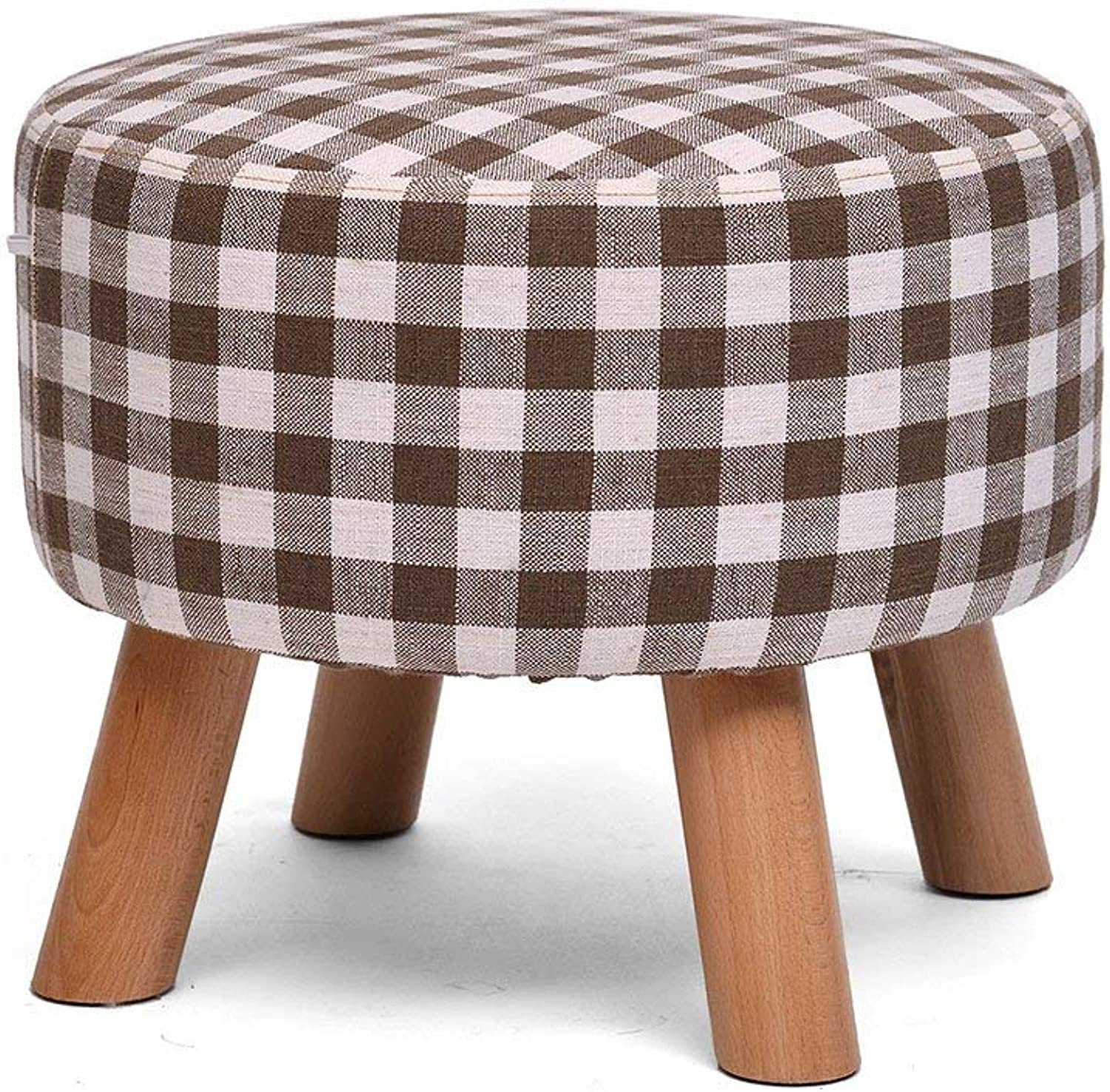 SED Chair Home shoes Bench Stool-Stool Solid Wood 4 Legs Cloth Art Short Change shoes Footstool Sofa Leisure Sofa Bench