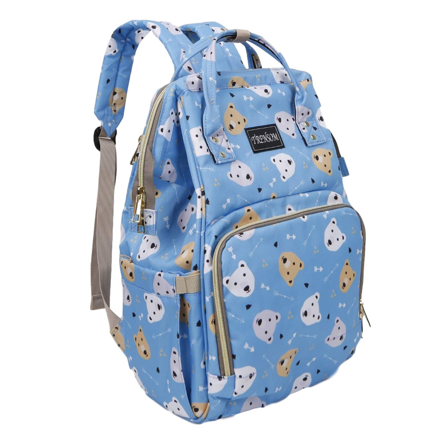 Large Capacity Baby Bear Diaper Bag Backpack, Blue Bear Head Travel Nappy Bags Maternity Nappy Baby Bags for Mom Dad Boys Girls,Diaper Bag Organizer