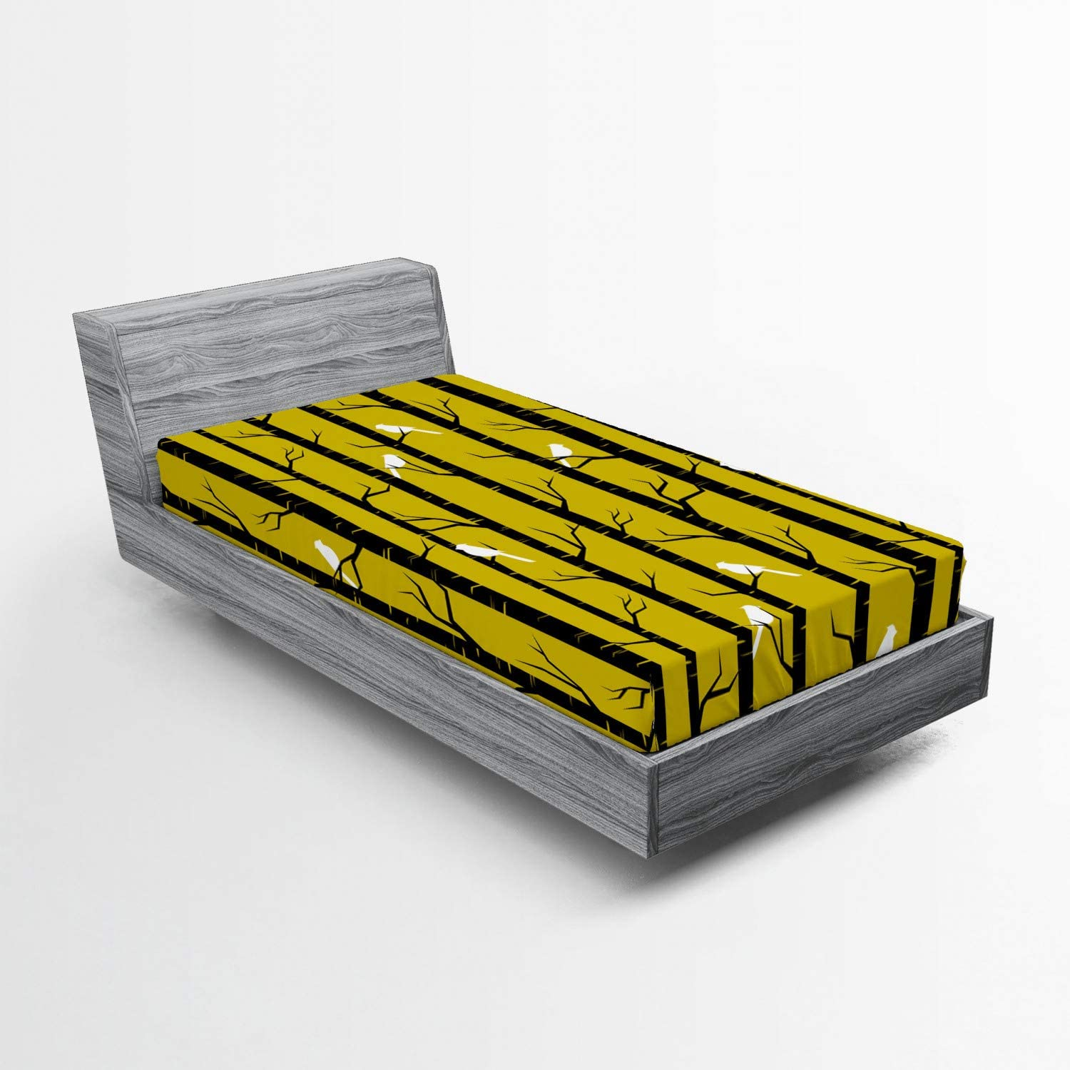 Lunarable Yellow Fitted Sheet Modern Free Shipping New Fores Minneapolis Mall Style Artdeco Design